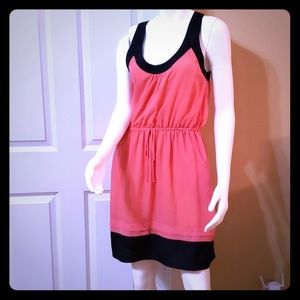 Dresses & Skirts - Pocketed sheer coral/navy lined summer dress